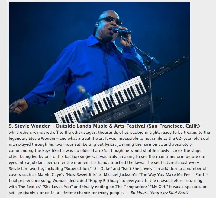 Paste Magazine's Best Music photos of 2012 featuring Stevie Wonder at Outside Lands Music festival 2012