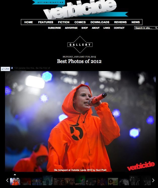 Verbicide Magazine's Best Music photos of 2012 featuring Die Antwoord at Outside Lands Music Festival 2012