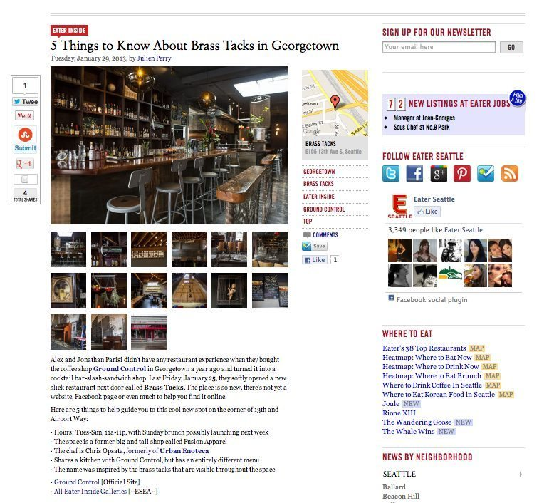 Brass Tacks Bar and Restaurant in Georgetown, Seattle
