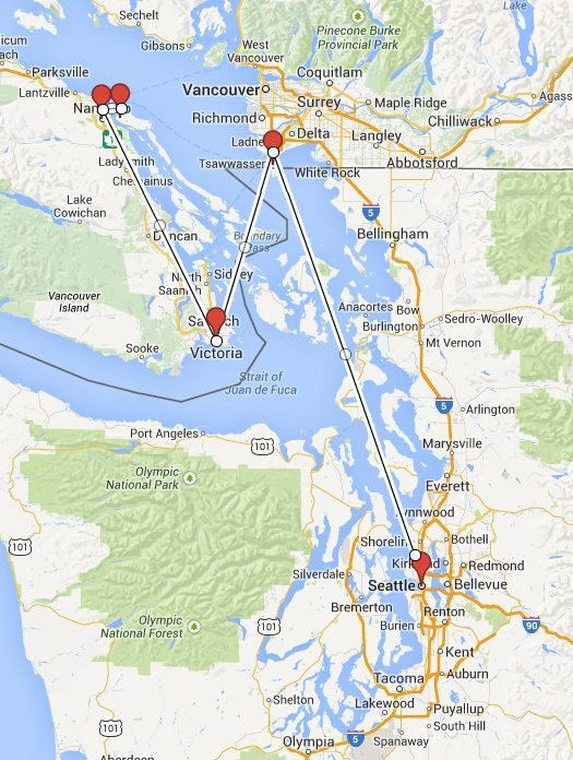 Vancouver Island road trip route