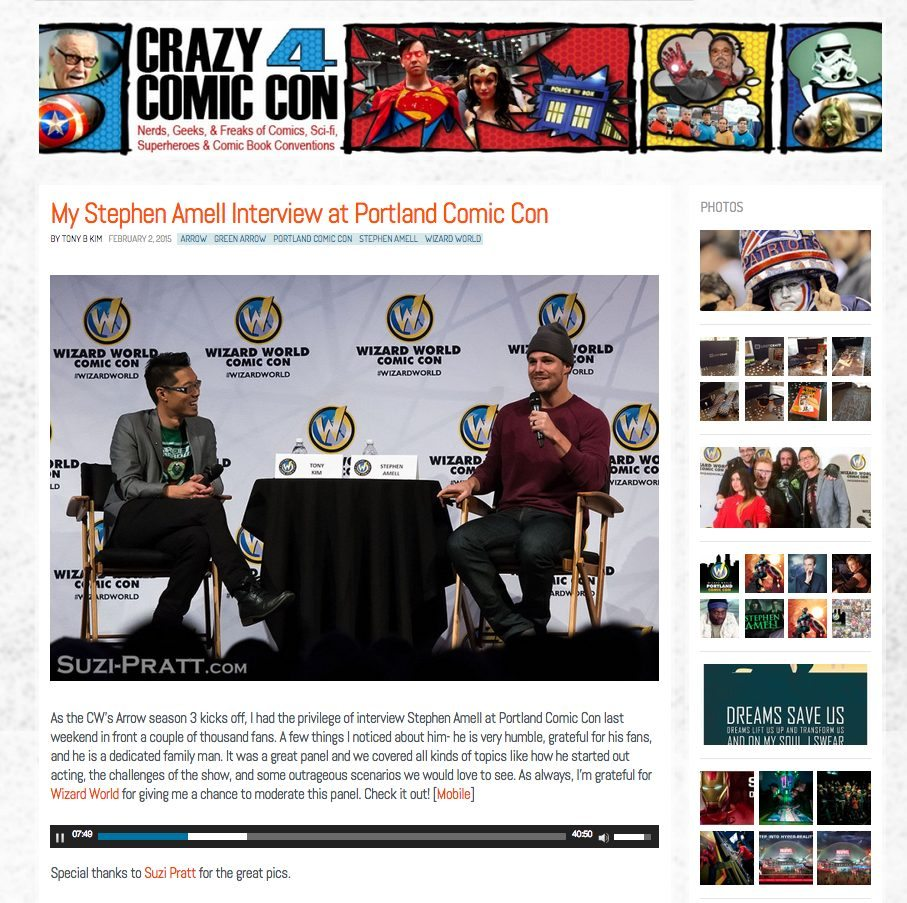 Stephen Amell Wizard World Portland Comic Con 2015 interview